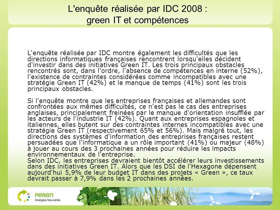 L enquête réalisée par IDC montre également les difficultés que les directions informatiques françaises rencontrent lorsqu elles décident d investir dans des initiatives Green IT.