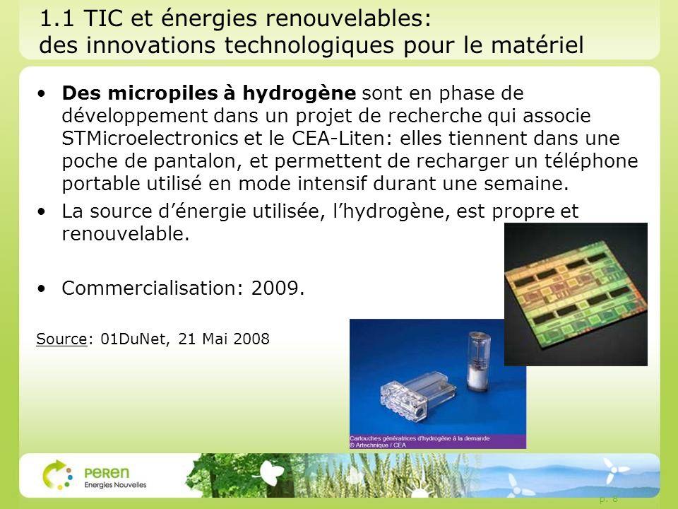 1.1 TIC et énergies renouvelables: des innovations technologiques pour le matériel Des micropiles à hydrogène sont en phase de développement dans un projet de recherche qui associe STMicroelectronics et le CEA-Liten: elles tiennent dans une poche de pantalon, et permettent de recharger un téléphone portable utilisé en mode intensif durant une semaine.