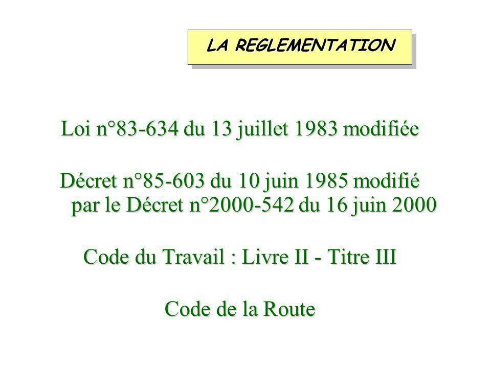 Loi n°83-634 du 13 juillet 1983 modifiée Décret n°85-603 du 10 juin 1985 modifié par le Décret n°2000-542 du 16 juin 2000 Code du Travail : Livre II - Titre III Code de la Route LA REGLEMENTATION