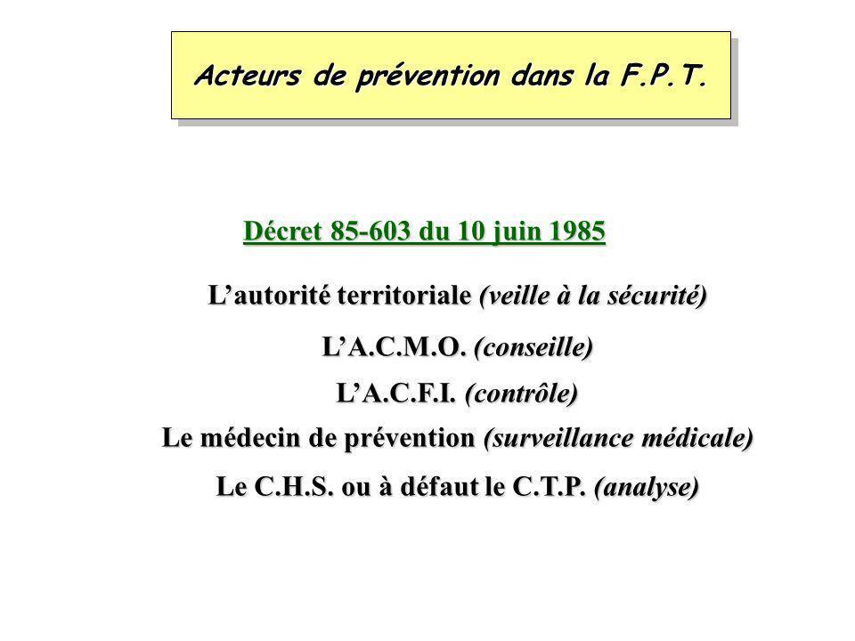 Acteurs de prévention dans la F.P.T.