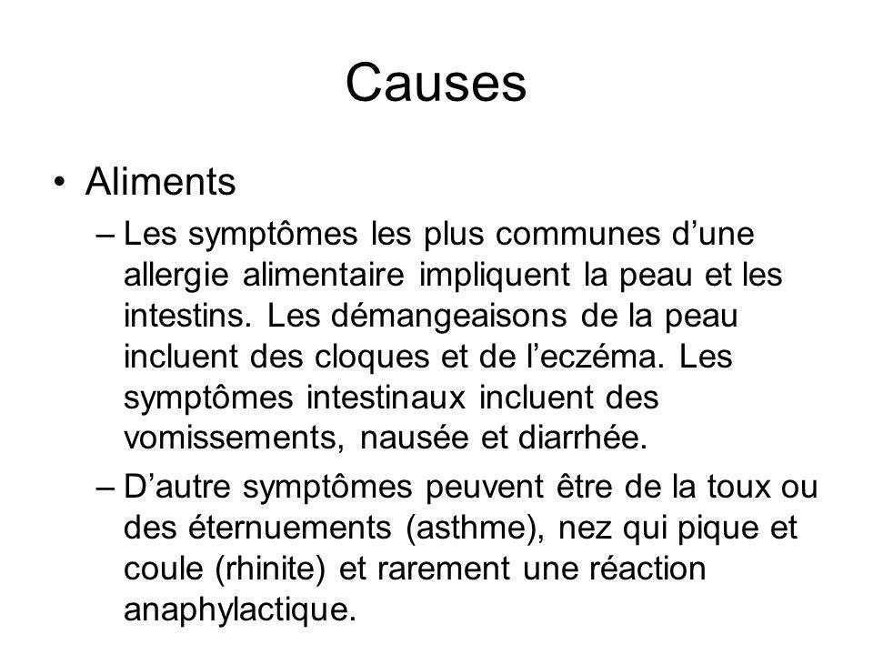 Causes Aliments –Les symptômes les plus communes dune allergie alimentaire impliquent la peau et les intestins. Les démangeaisons de la peau incluent