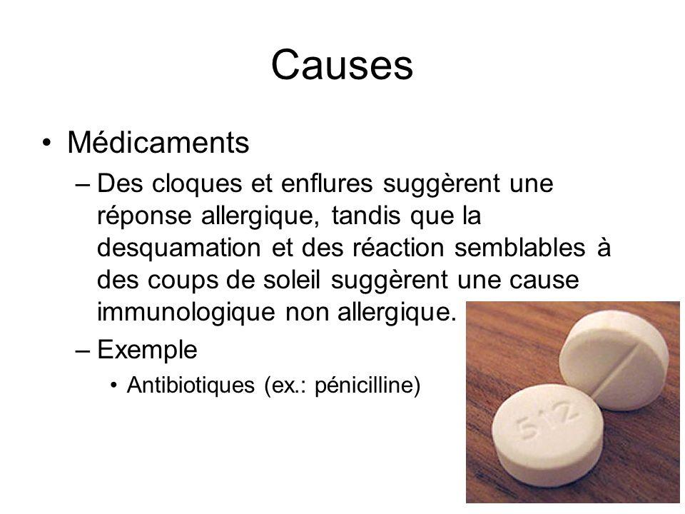 Causes Médicaments –Des cloques et enflures suggèrent une réponse allergique, tandis que la desquamation et des réaction semblables à des coups de sol