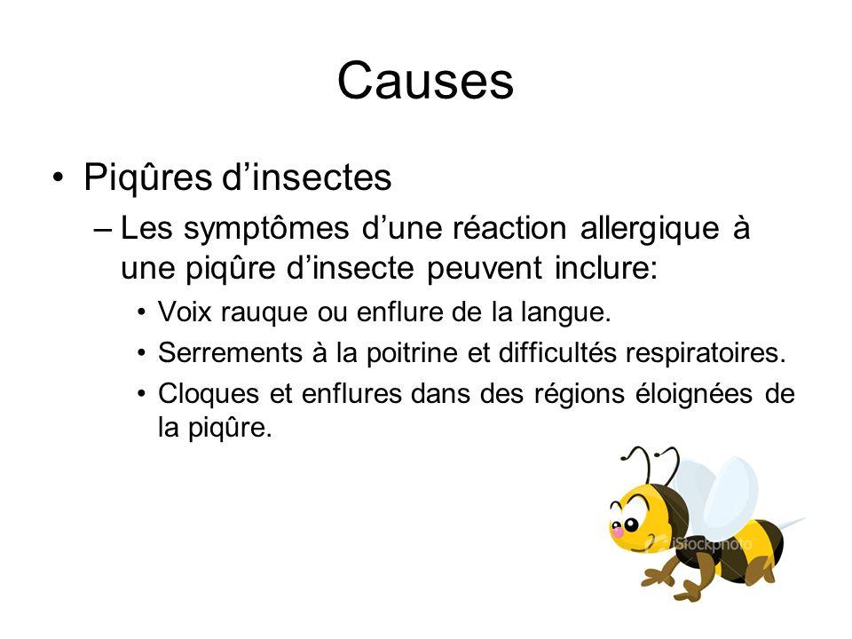 Causes Piqûres dinsectes –Les symptômes dune réaction allergique à une piqûre dinsecte peuvent inclure: Voix rauque ou enflure de la langue. Serrement