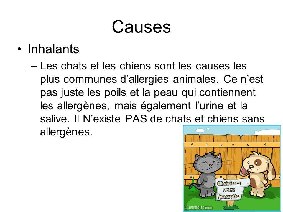 Causes Inhalants –Les chats et les chiens sont les causes les plus communes dallergies animales. Ce nest pas juste les poils et la peau qui contiennen