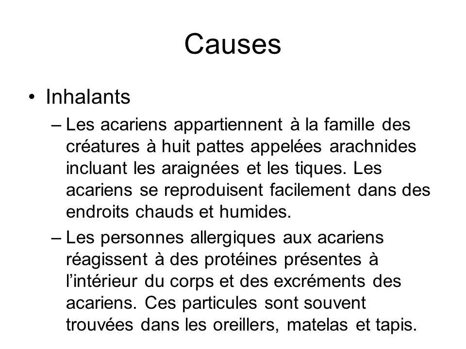 Causes Inhalants –Les acariens appartiennent à la famille des créatures à huit pattes appelées arachnides incluant les araignées et les tiques. Les ac