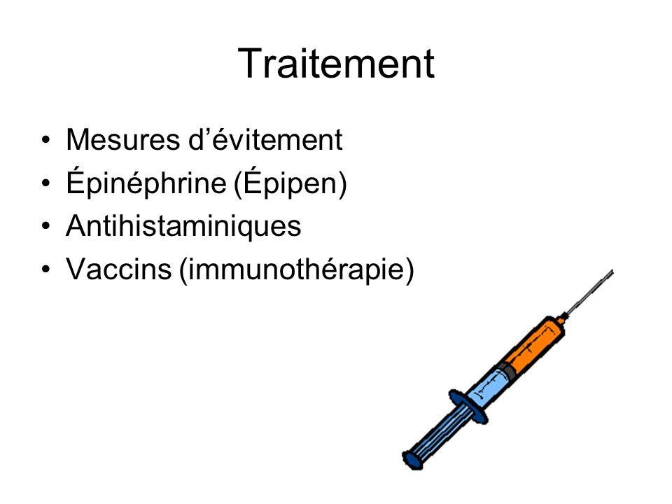 Mesures dévitement Épinéphrine (Épipen) Antihistaminiques Vaccins (immunothérapie)