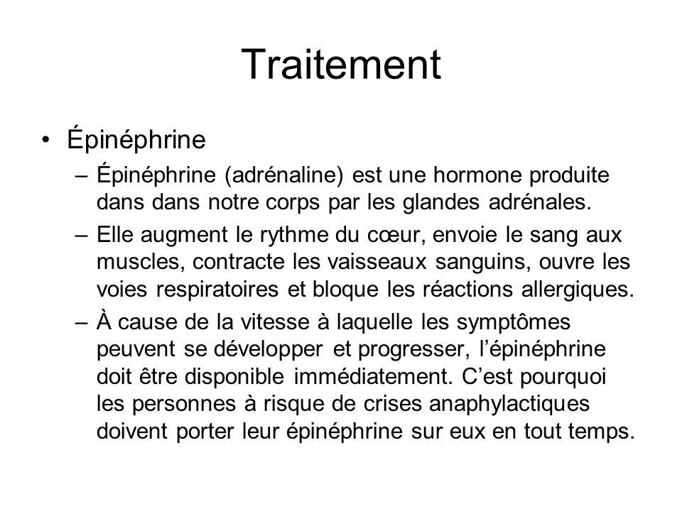 Traitement Épinéphrine –Épinéphrine (adrénaline) est une hormone produite dans dans notre corps par les glandes adrénales. –Elle augment le rythme du
