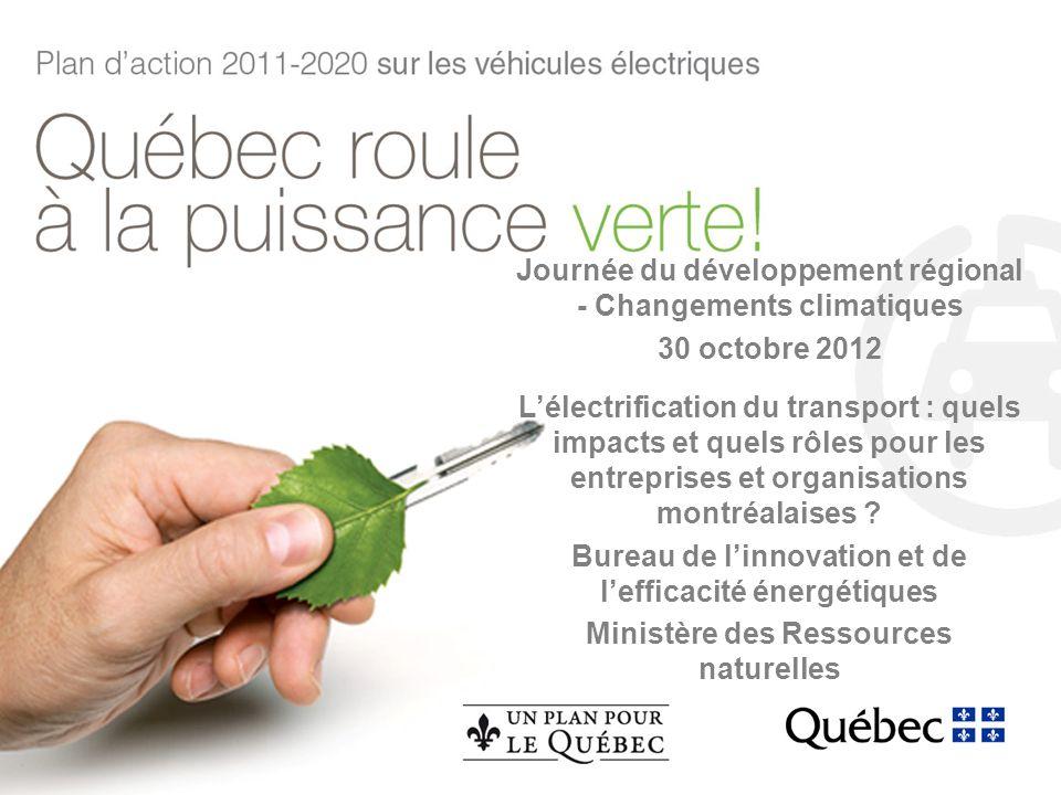 Journée du développement régional - Changements climatiques 30 octobre 2012 Lélectrification du transport : quels impacts et quels rôles pour les entreprises et organisations montréalaises .