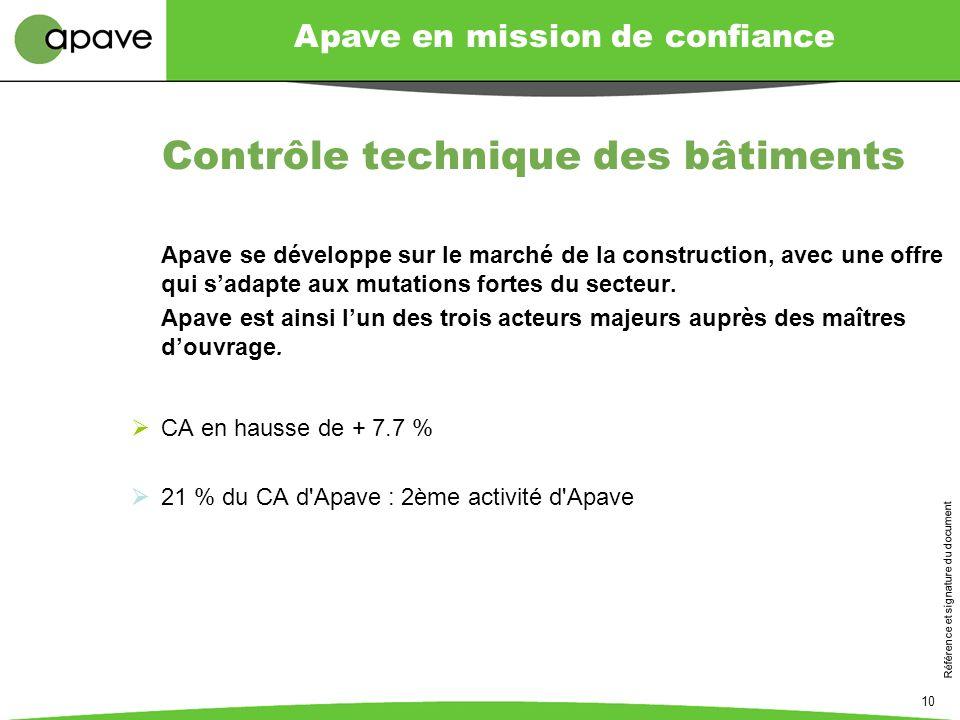 Apave en mission de confiance Référence et signature du document 10 Contrôle technique des bâtiments Apave se développe sur le marché de la constructi