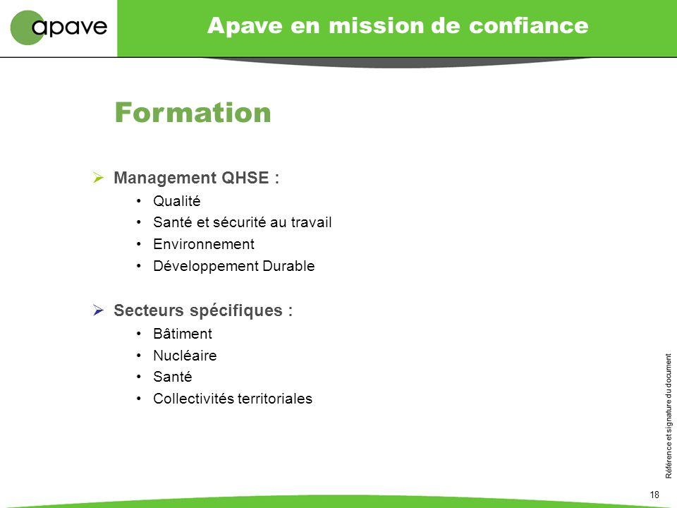 Apave en mission de confiance Référence et signature du document 18 Management QHSE : Qualité Santé et sécurité au travail Environnement Développement
