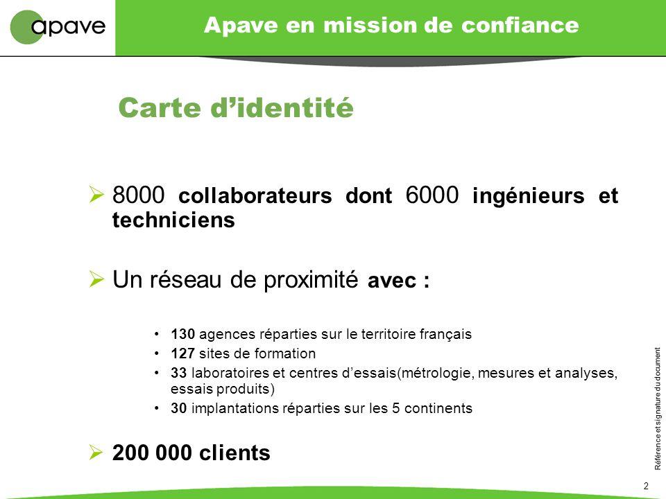 Référence et signature du document 2 Carte didentité 8000 collaborateurs dont 6000 ingénieurs et techniciens Un réseau de proximité avec : 130 agences