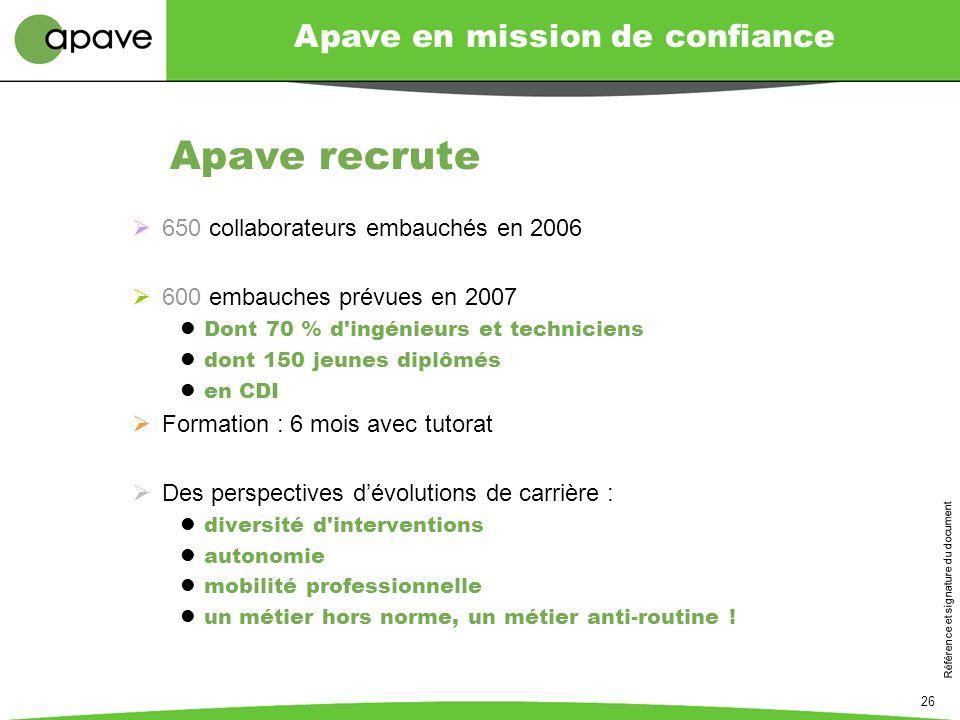 Apave en mission de confiance Référence et signature du document 26 Apave recrute 650 collaborateurs embauchés en 2006 600 embauches prévues en 2007 D