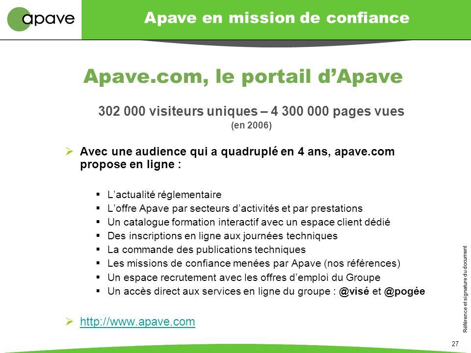 Apave en mission de confiance Référence et signature du document 27 Apave.com, le portail dApave 302 000 visiteurs uniques – 4 300 000 pages vues (en