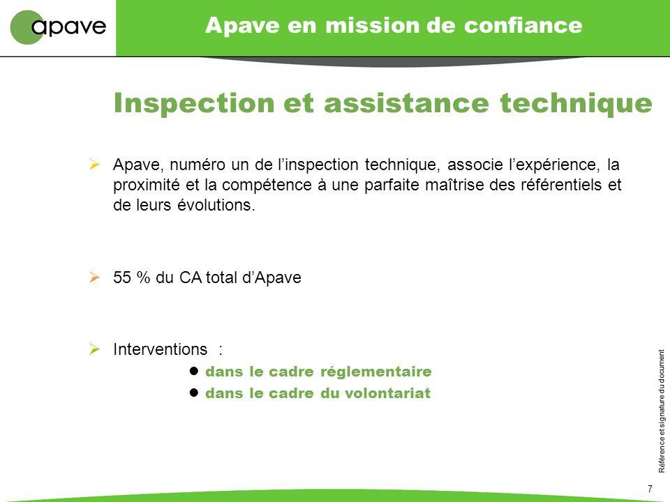 Apave en mission de confiance Référence et signature du document 7 Apave, numéro un de linspection technique, associe lexpérience, la proximité et la