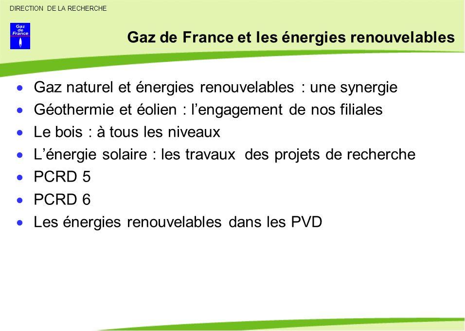 DIRECTION DE LA RECHERCHE Gaz de France et les énergies renouvelables Gaz naturel et énergies renouvelables : une synergie Géothermie et éolien : leng
