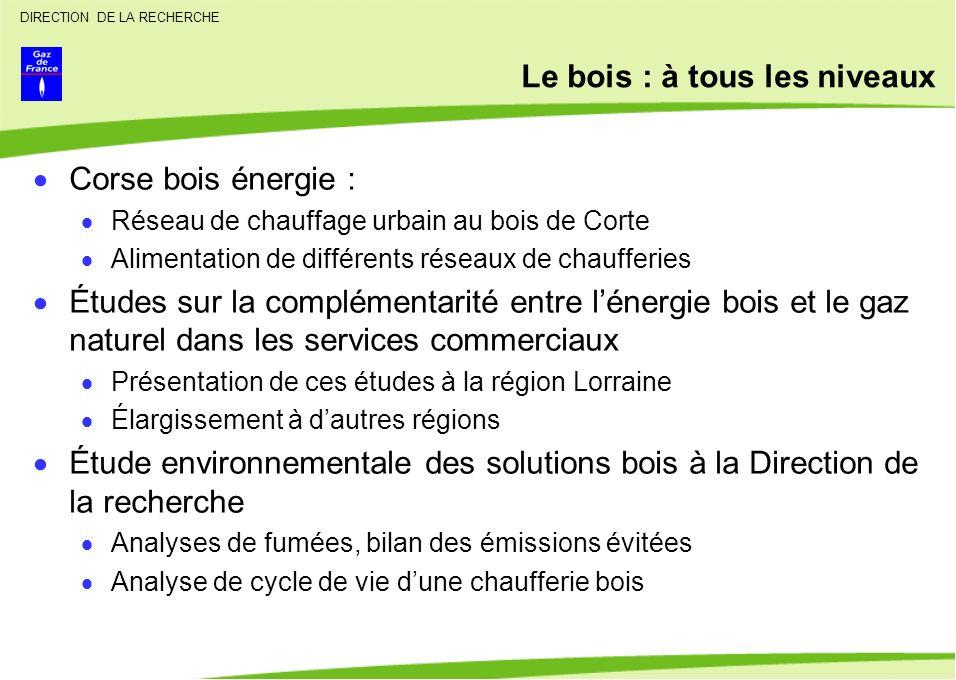 DIRECTION DE LA RECHERCHE Le bois : à tous les niveaux Corse bois énergie : Réseau de chauffage urbain au bois de Corte Alimentation de différents rés