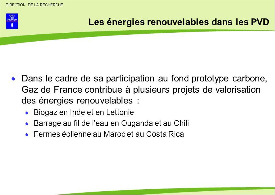 DIRECTION DE LA RECHERCHE Les énergies renouvelables dans les PVD Dans le cadre de sa participation au fond prototype carbone, Gaz de France contribue