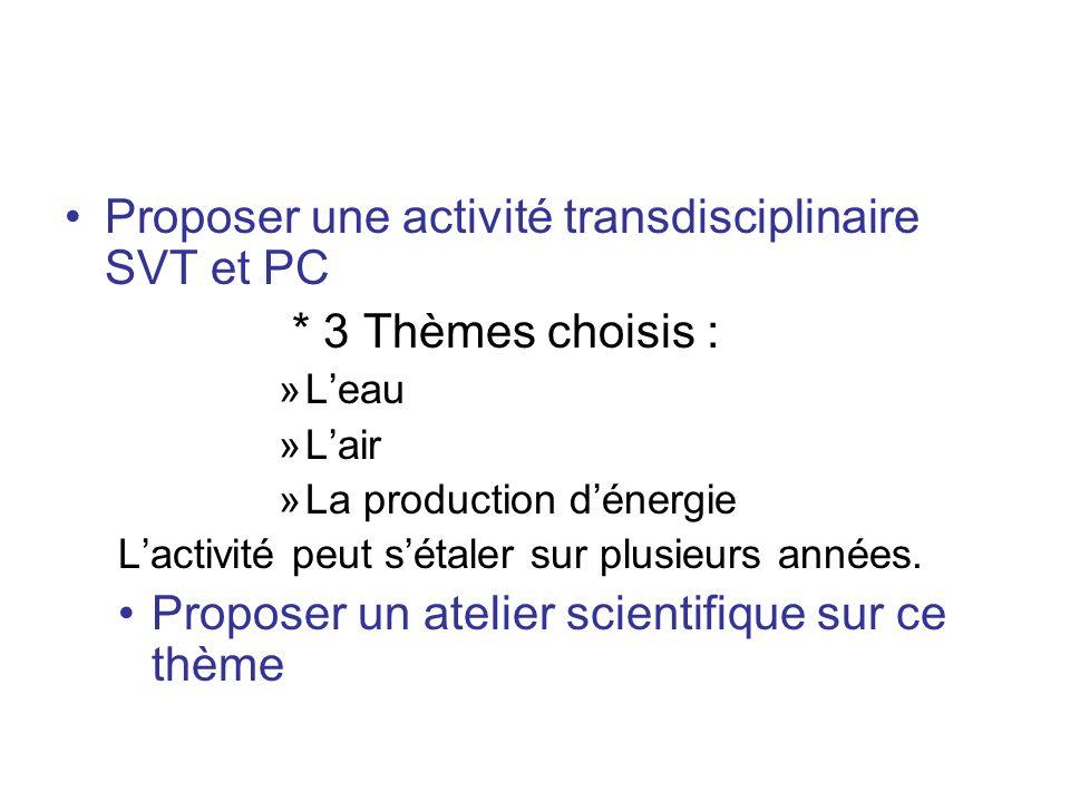Proposer une activité transdisciplinaire SVT et PC * 3 Thèmes choisis : »Leau »Lair »La production dénergie Lactivité peut sétaler sur plusieurs année