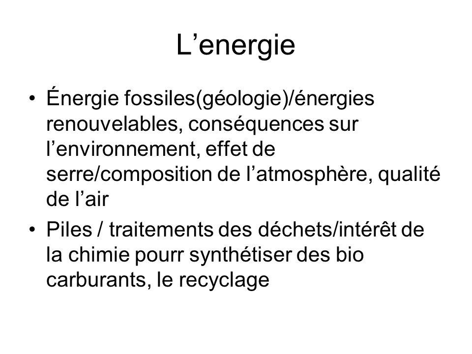 Lenergie Énergie fossiles(géologie)/énergies renouvelables, conséquences sur lenvironnement, effet de serre/composition de latmosphère, qualité de lai