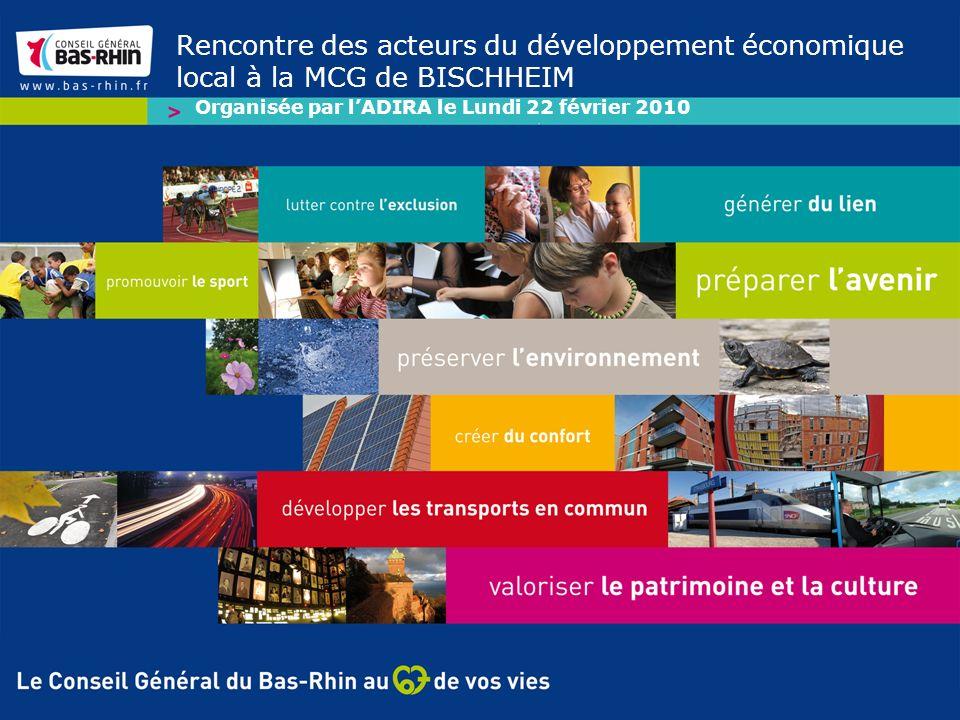 Rencontre des acteurs du développement économique local à la MCG de BISCHHEIM Organisée par lADIRA le Lundi 22 février 2010