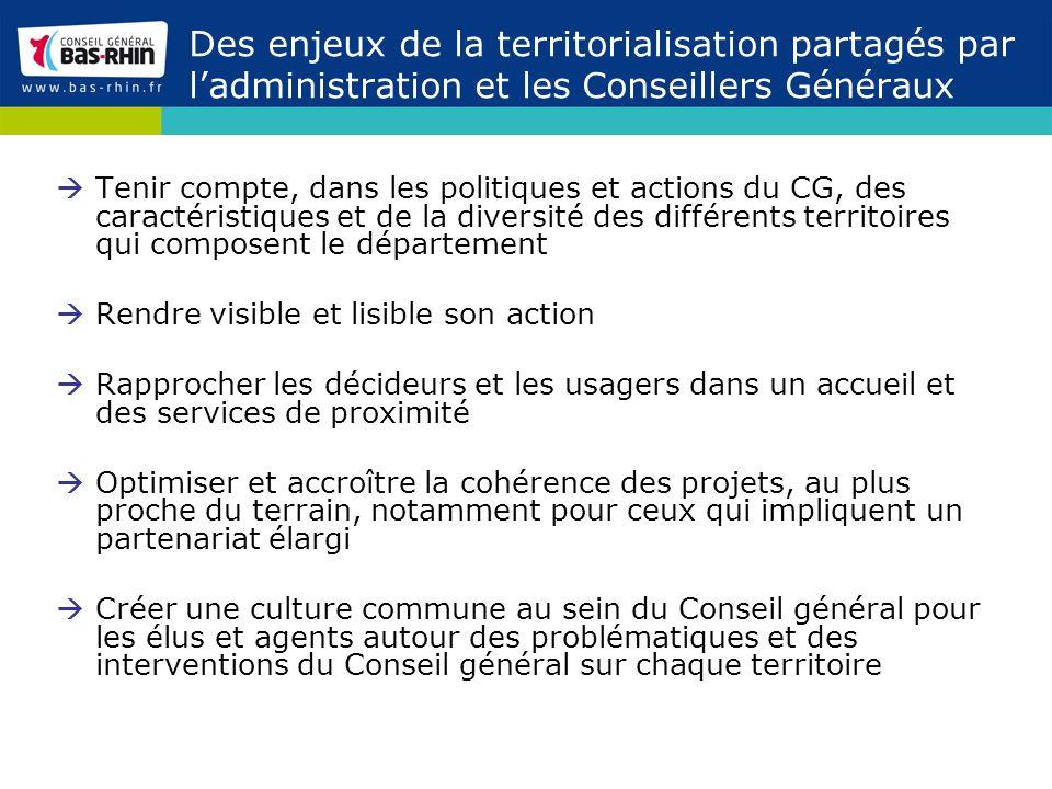 Des enjeux de la territorialisation partagés par ladministration et les Conseillers Généraux Tenir compte, dans les politiques et actions du CG, des c