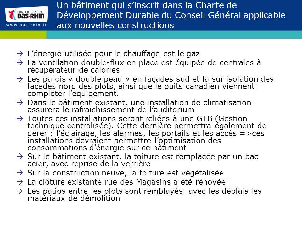 Un bâtiment qui sinscrit dans la Charte de Développement Durable du Conseil Général applicable aux nouvelles constructions Lénergie utilisée pour le c
