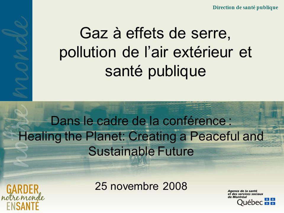 Direction de santé publique Dans le cadre de la conférence : Healing the Planet: Creating a Peaceful and Sustainable Future 25 novembre 2008 Gaz à effets de serre, pollution de lair extérieur et santé publique