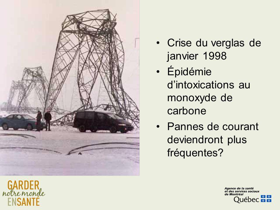 Crise du verglas de janvier 1998 Épidémie dintoxications au monoxyde de carbone Pannes de courant deviendront plus fréquentes