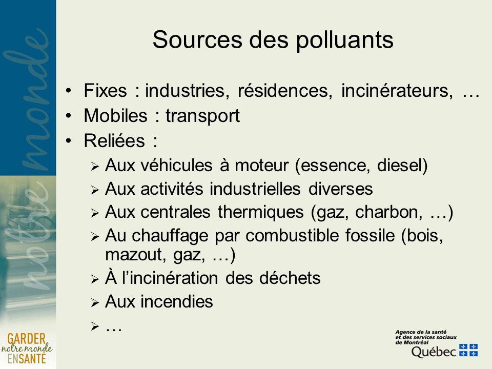 Sources des polluants Fixes : industries, résidences, incinérateurs, … Mobiles : transport Reliées : Aux véhicules à moteur (essence, diesel) Aux acti