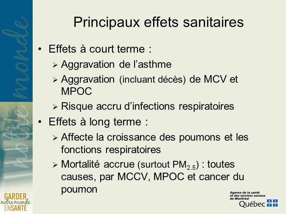 Principaux effets sanitaires Effets à court terme : Aggravation de lasthme Aggravation (incluant décès) de MCV et MPOC Risque accru dinfections respiratoires Effets à long terme : Affecte la croissance des poumons et les fonctions respiratoires Mortalité accrue (surtout PM 2.5 ) : toutes causes, par MCCV, MPOC et cancer du poumon