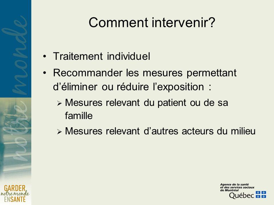 Comment intervenir? Traitement individuel Recommander les mesures permettant déliminer ou réduire lexposition : Mesures relevant du patient ou de sa f
