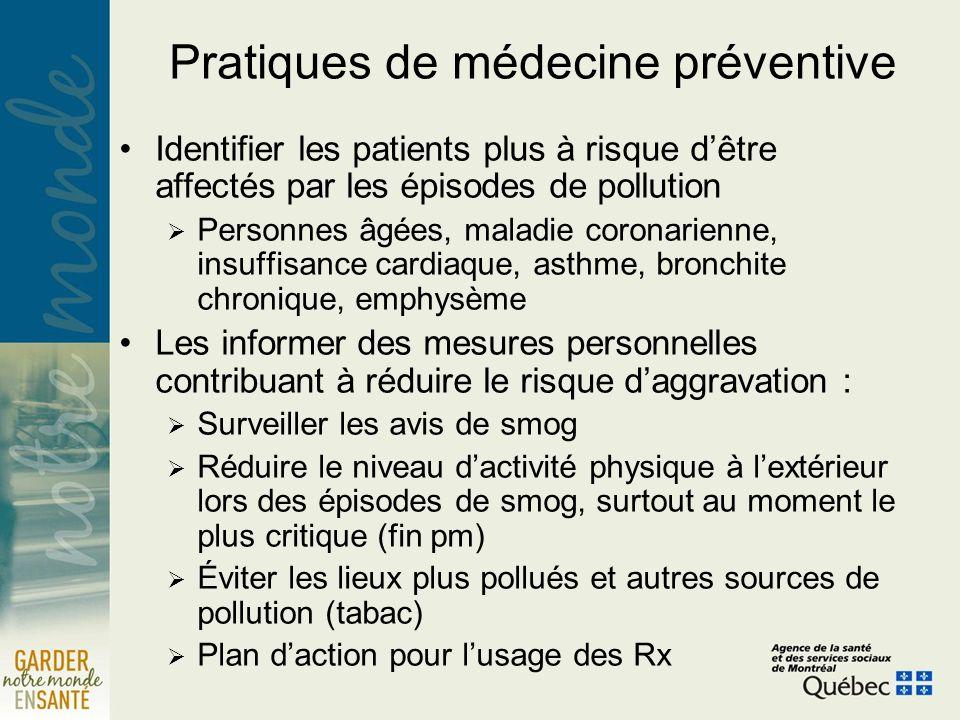 Pratiques de médecine préventive Identifier les patients plus à risque dêtre affectés par les épisodes de pollution Personnes âgées, maladie coronarie