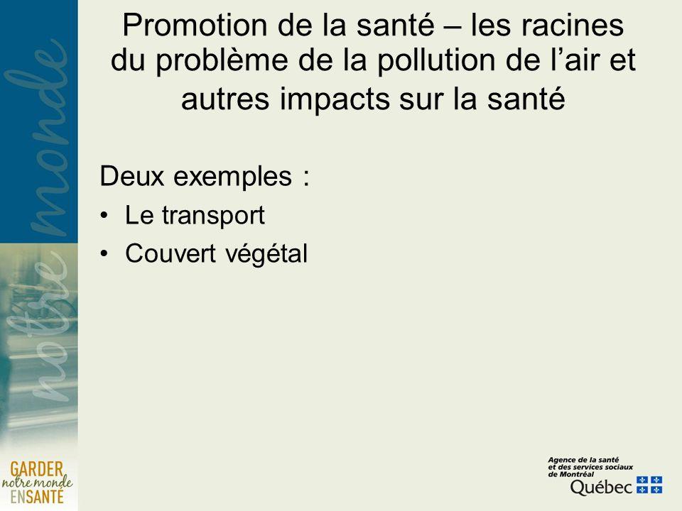 Promotion de la santé – les racines du problème de la pollution de lair et autres impacts sur la santé Deux exemples : Le transport Couvert végétal