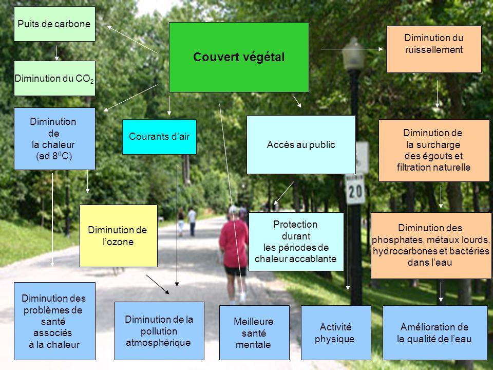 Couvert végétal Diminution de la chaleur (ad 8 0 C) Diminution des problèmes de santé associés à la chaleur Diminution de lozone Courants dair Diminut