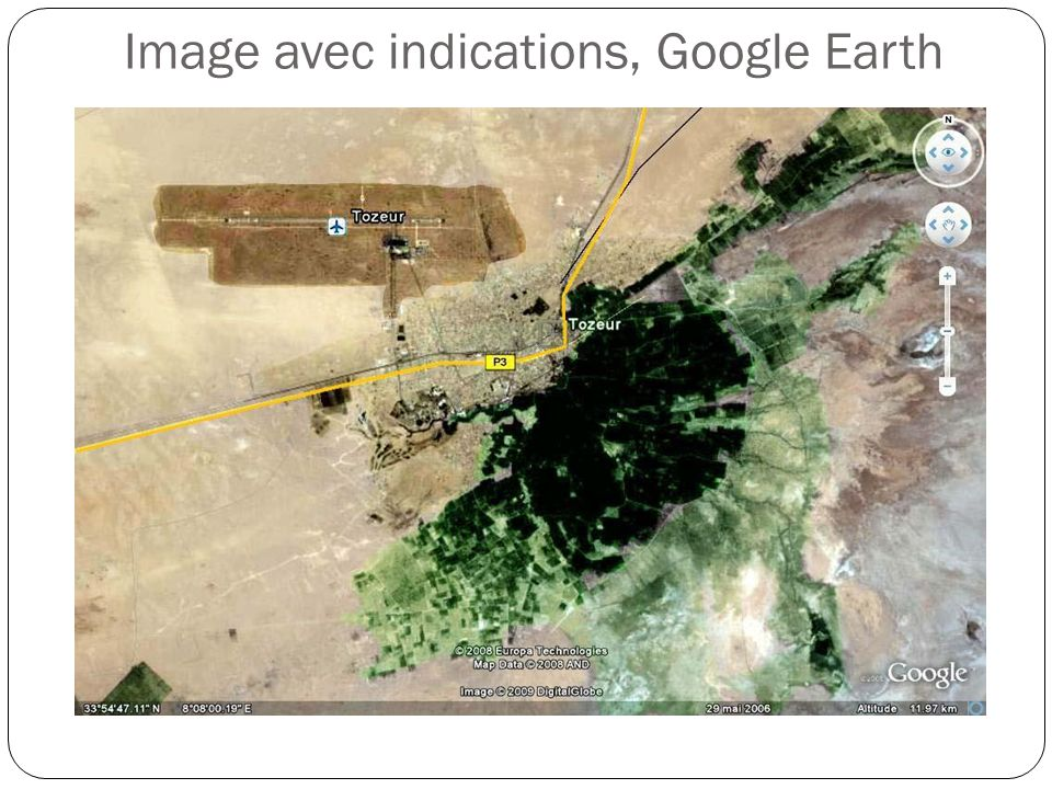 Image avec indications, Google Earth