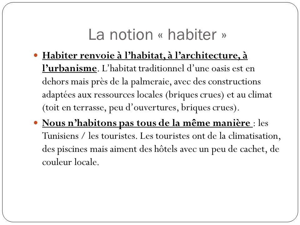 La notion « habiter » Habiter renvoie à lhabitat, à larchitecture, à lurbanisme.