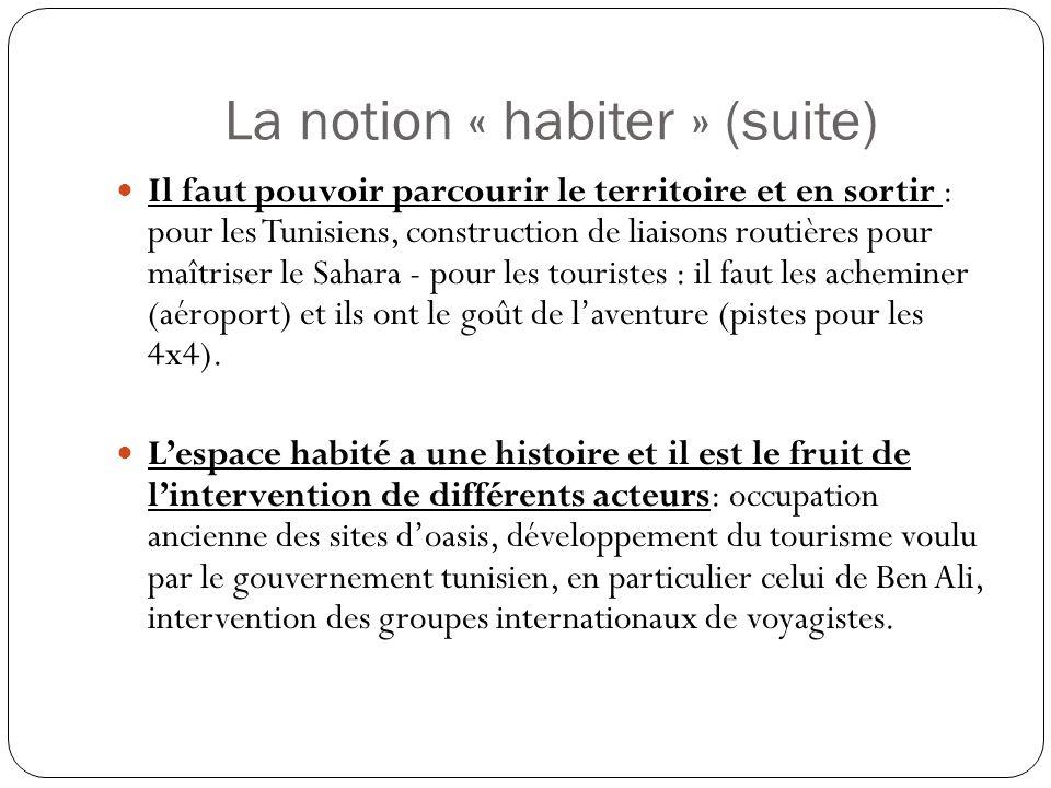 La notion « habiter » (suite) Il faut pouvoir parcourir le territoire et en sortir : pour les Tunisiens, construction de liaisons routières pour maîtriser le Sahara - pour les touristes : il faut les acheminer (aéroport) et ils ont le goût de laventure (pistes pour les 4x4).