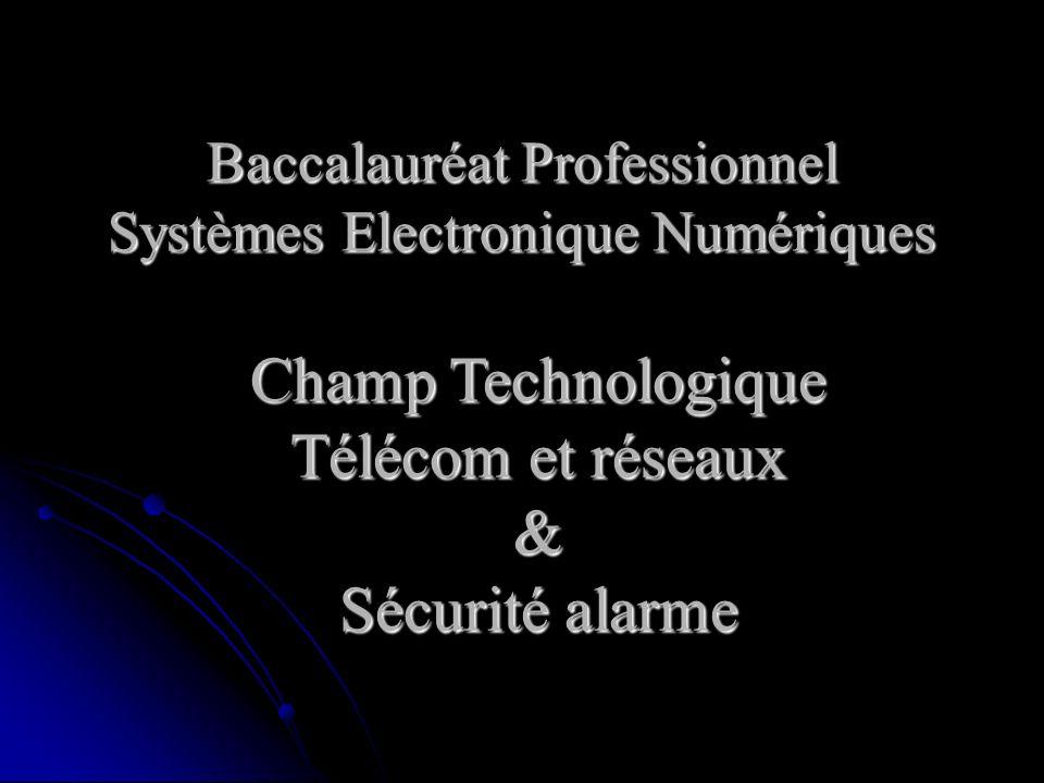 Baccalauréat Professionnel Systèmes Electronique Numériques Champ Technologique Télécom et réseaux & Sécurité alarme