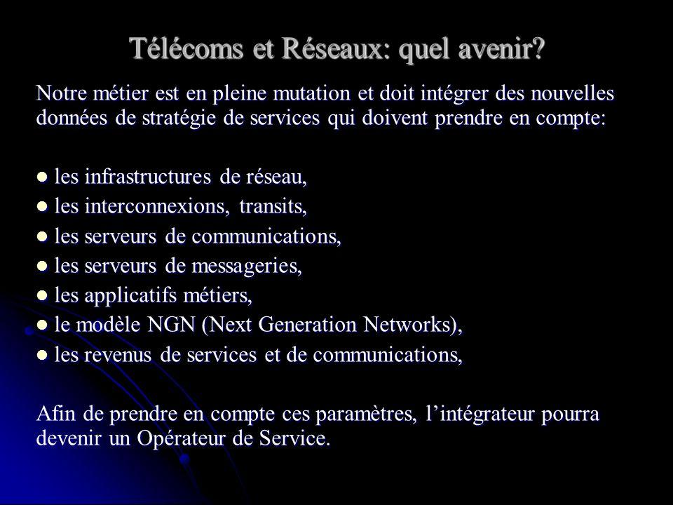 Notre métier est en pleine mutation et doit intégrer des nouvelles données de stratégie de services qui doivent prendre en compte: les infrastructures de réseau, les infrastructures de réseau, les interconnexions, transits, les interconnexions, transits, les serveurs de communications, les serveurs de communications, les serveurs de messageries, les serveurs de messageries, les applicatifs métiers, les applicatifs métiers, le modèle NGN (Next Generation Networks), le modèle NGN (Next Generation Networks), les revenus de services et de communications, les revenus de services et de communications, Afin de prendre en compte ces paramètres, lintégrateur pourra devenir un Opérateur de Service.