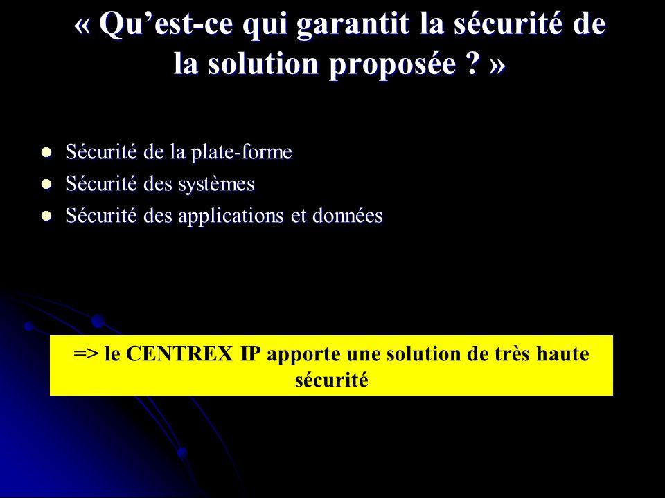 « Quest-ce qui garantit la sécurité de la solution proposée .