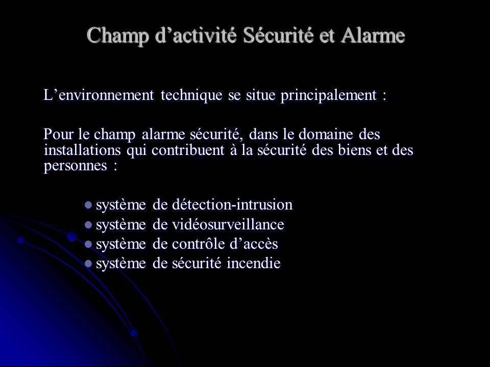 Champ dactivité Sécurité et Alarme Lenvironnement technique se situe principalement : Lenvironnement technique se situe principalement : Pour le champ alarme sécurité, dans le domaine des installations qui contribuent à la sécurité des biens et des personnes : Pour le champ alarme sécurité, dans le domaine des installations qui contribuent à la sécurité des biens et des personnes : système de détection-intrusion système de détection-intrusion système de vidéosurveillance système de vidéosurveillance système de contrôle daccès système de contrôle daccès système de sécurité incendie système de sécurité incendie