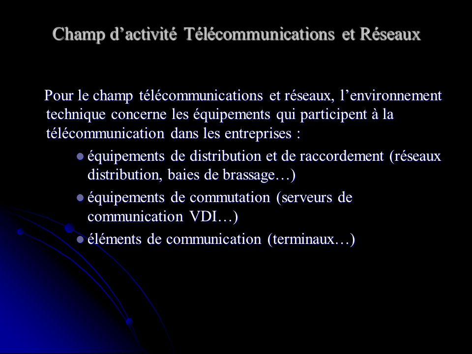 Pour le champ télécommunications et réseaux, lenvironnement technique concerne les équipements qui participent à la télécommunication dans les entrepr