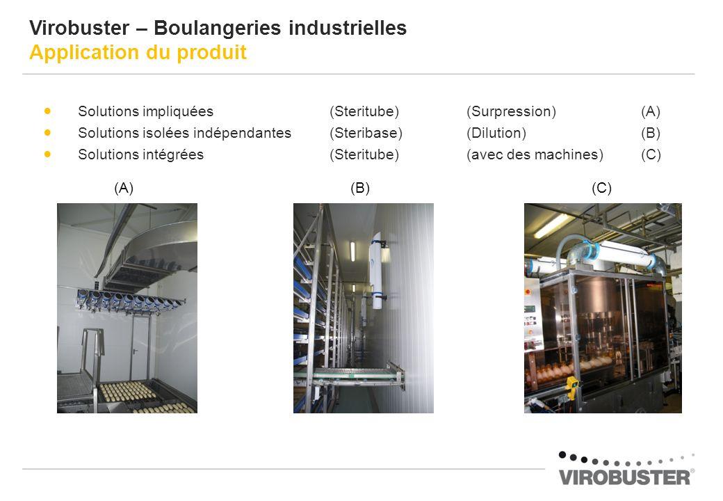 Solutions impliquées (Steritube) (Surpression) (A) Solutions isolées indépendantes (Steribase)(Dilution) (B) Solutions intégrées (Steritube)(avec des