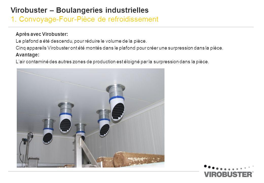 Après avec Virobuster: Le plafond a été descendu, pour réduire le volume de la pièce. Cinq appareils Virobuster ont été montés dans le plafond pour cr