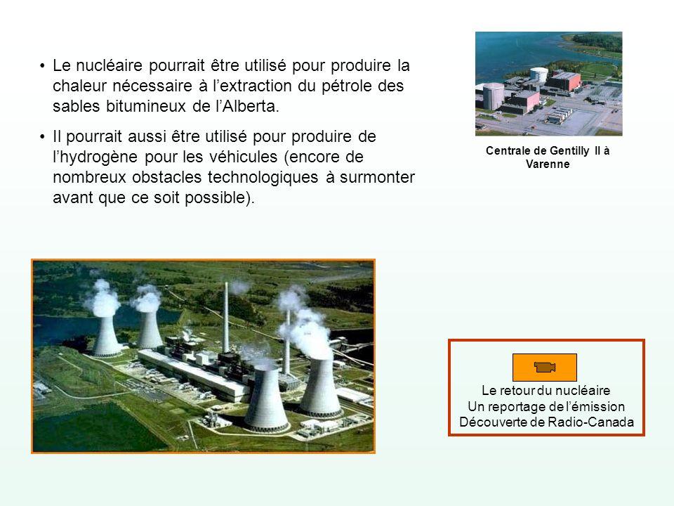 Le nucléaire pourrait être utilisé pour produire la chaleur nécessaire à lextraction du pétrole des sables bitumineux de lAlberta. Il pourrait aussi ê