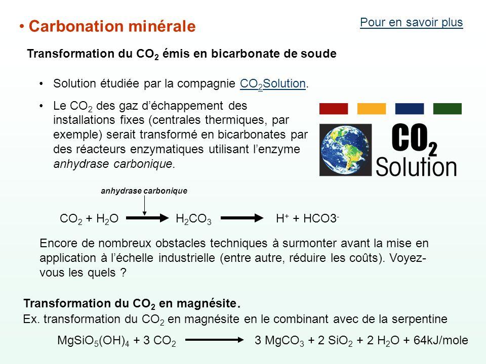 Carbonation minérale Solution étudiée par la compagnie CO 2 Solution.CO 2 Solution Le CO 2 des gaz déchappement des installations fixes (centrales the