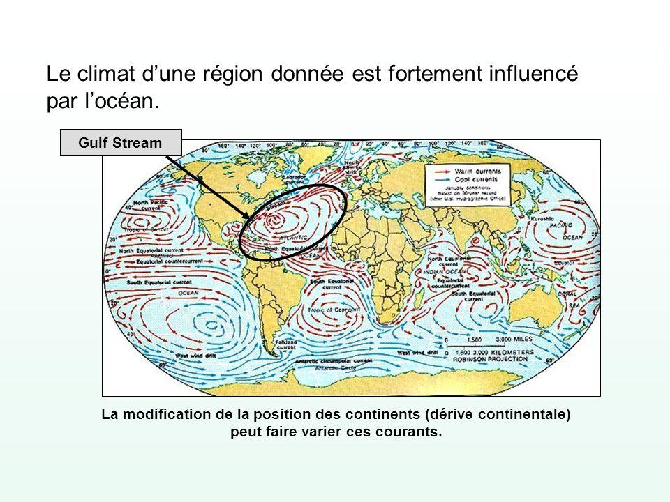 Le climat dune région donnée est fortement influencé par locéan. Gulf Stream La modification de la position des continents (dérive continentale) peut
