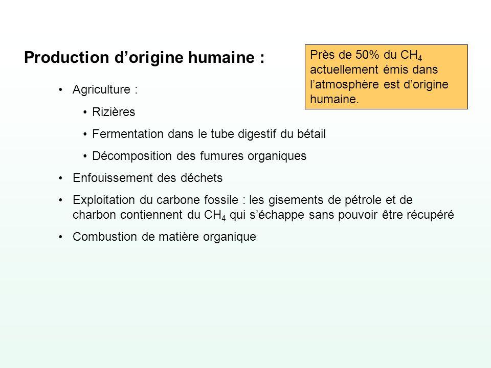 Production dorigine humaine : Agriculture : Rizières Fermentation dans le tube digestif du bétail Décomposition des fumures organiques Enfouissement d