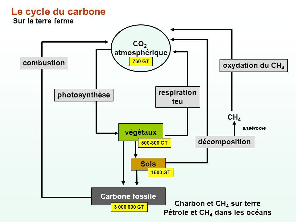 Carbone fossile 3 000 000 GT Charbon et CH 4 sur terre Pétrole et CH 4 dans les océans Le cycle du carbone Sur la terre ferme CO 2 atmosphérique 760 G