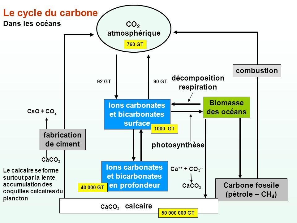 Le cycle du carbone Dans les océans CO 2 atmosphérique 760 GT Carbone fossile (pétrole – CH 4 ) Ions carbonates et bicarbonates en profondeur 40 000 G